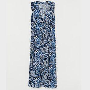 H&M Long Beach Dress Blue and White Print